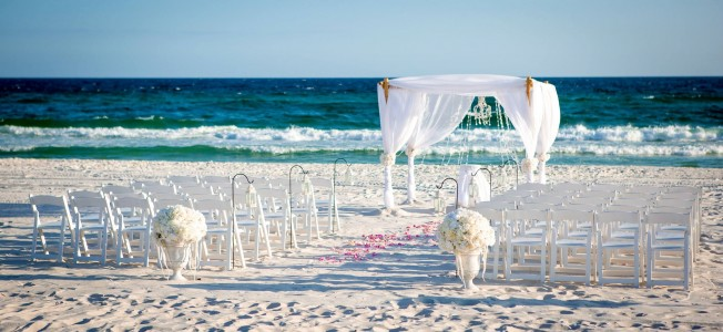 panama city beach wedding ceremony white
