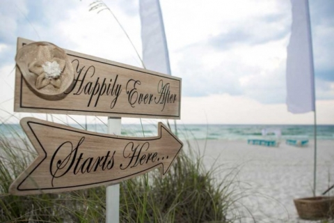 happily ever after beach wedding sign panama city