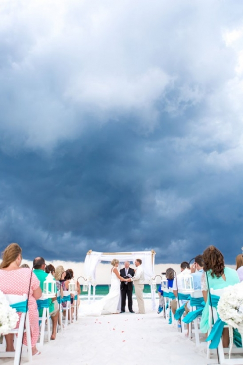 sunset beach wedding in Panama City beach florida