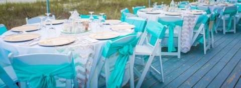 tiffany reception beach wedding