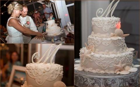 starfish and shelf beach wedding cake in panama city beach