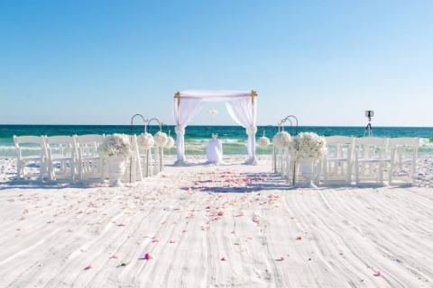 bamboo arbor white material flowers beach wedding