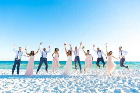 beach wedding destin jumping picture