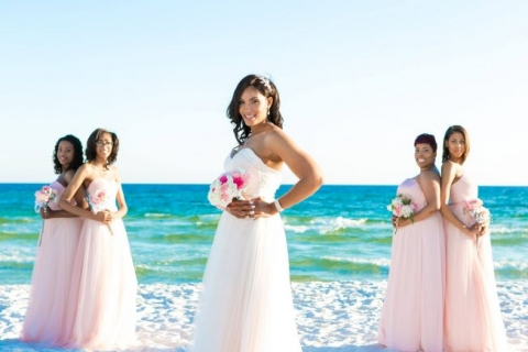 beach wedding light pink