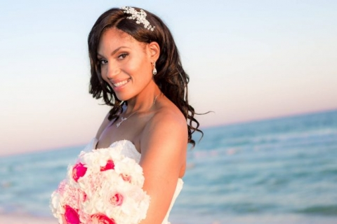 pink bridal bouquet beach wedding