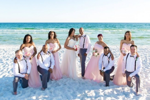 bridal party light pink poses