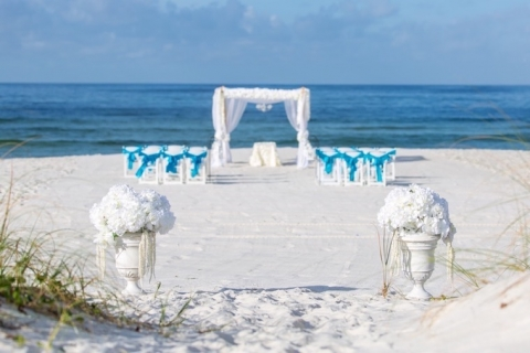 panama city beach wedding bamboo arbor chairs