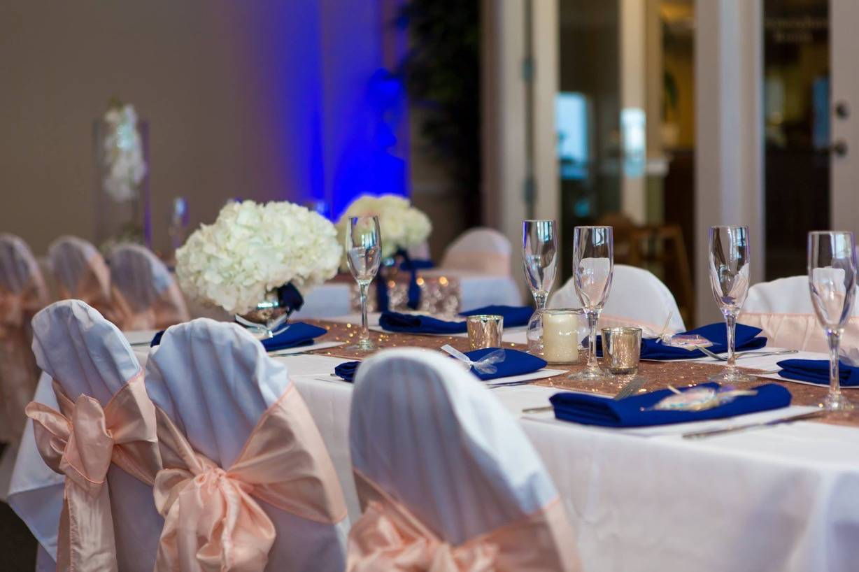 Navy Blue And Gold Reception