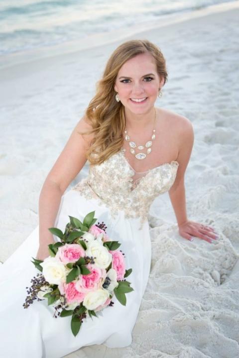 beach bride romantic destin wedding