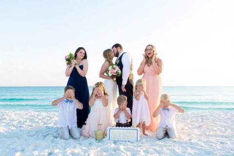 Destin beach wedding bride and groom