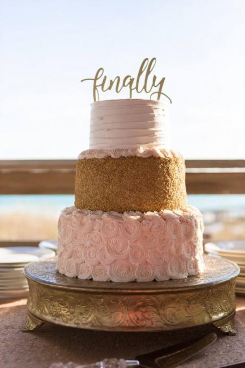 blush pink and gold cake beach wedding