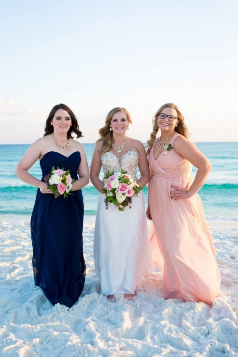 pink and navy bridesmaid dresses