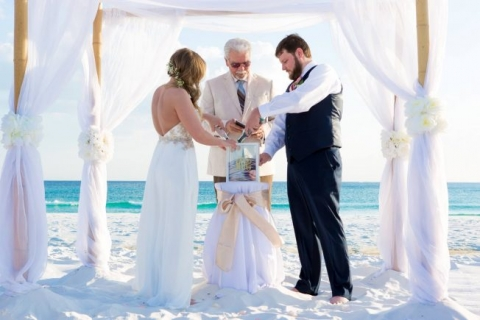 sand ceremony frame destin beach wedding