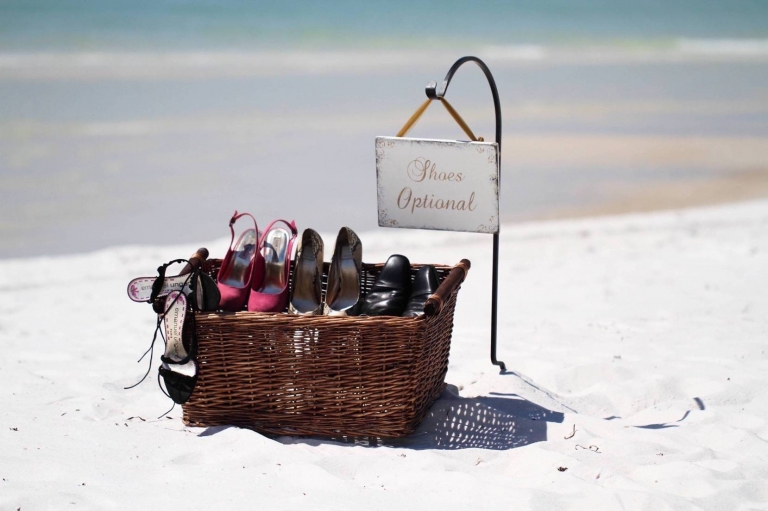 shoe basket beach wedding ceremony