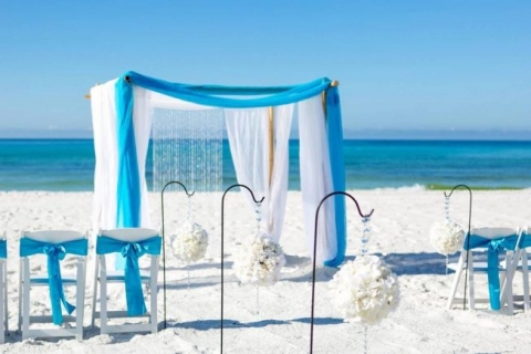 tiffany blue bamboo arbor beach wedding panama city beach