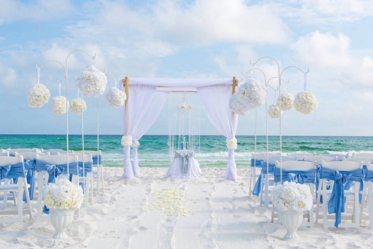light blue destin beach wedding aqua ceremony sashes