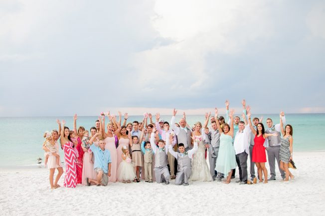 group photo beach wedding in Panama city beach