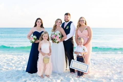 Pink And Navy Blue Beach Wedding